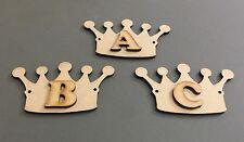 D12 1x 100mm Crown & 1x Letter Craft Shapes Blanks Laser Cut MDF Hang