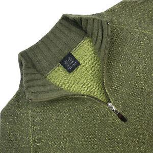 Mens 44 / L Battistoni Green Knit Flec 100 % Cashmere 1/4 Zip Sweater Italy