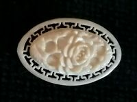 Antique Carved Celluloid Rose Flower Openwork Brooch