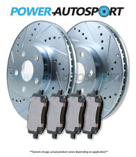 (REAR) POWER CROSS DRILLED SLOTTED PLATED BRAKE ROTORS + CERAMIC PADS 75842PK