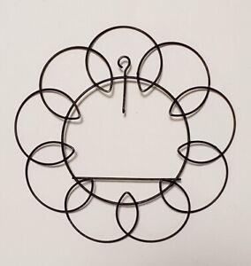 "Vintage Plate Black Metal Wire Round Wall Flower Design Hanger Holder 3"" plate"