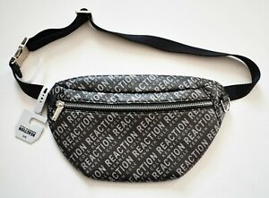 $52 NEW Auth KENNETH COLE REACTION Black Gray LOGO Printed BELT BAG FANNY PACK