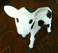Figurine Farm Animal Cow Black White Statue Calf Standing Holstein Collectible