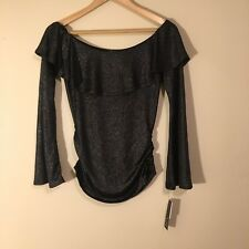 BCX Juniors Top Size Small Shimmer Off The Shoulder Black Semi Sheer Top