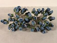 Rose Buds Blue Mini 48 Small Paper Wedding Bridal Scrapbook Crafts Millinery