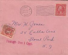 J 25 Jamaica Nueva York el 1939 de agosto mal pagados Cubierta marca franqueo debido sello en T
