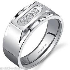 MENS OR WOMENS TITANIUM LCS. DIAMOND WEDDING BAND RING SZ 9 + GIFT