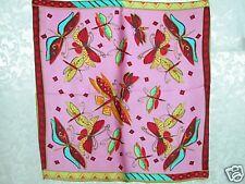 New 100% Charmeuse Silk Scarf Bandana Dragonfly Pink
