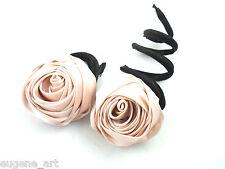 2X Satin Rose Beige Bow Hair PIN SCrew PIN easy Decoration Long Short Elegant