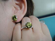 jem: HUGE 4ct. PERIDOT GREEN EARRINGS, RING & PENDANT