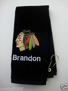 Personalized Embroidered Golf Bowling Workout Towel Chicago Blackhawks