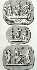 Bas Releif Serapis Sarapis Pluton Religion Antiquité Montfaucon - Gravure XVIII