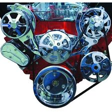 BBC SERPENTINE PULLEY KIT, BILLET POLISHED W/AC W/POWER STEERING. U.S.A.