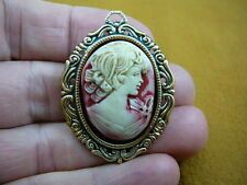 (cred-25) Woman hair headband with curls ivory lady red CAMEO brass Pin Pendant