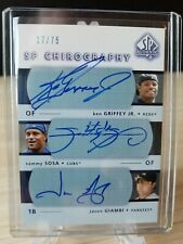 Ken Griffey Jr. Sammy Sosa Jason Giambi 2003 UD SP Authentic ON CARD Auto 17/75