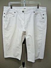 "CATO White Stretch Denim Bermuda Capri Jeans Shorts Sz 18W x 17"""