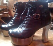 New Rock Black leather Silver Metal Platform laced buckle boots 8 BNIB