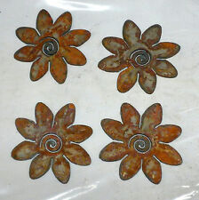 Lot of 4 Rusty Flower Crazy Daisy 3 in Metal Wall Art Stencil Ornament Craft