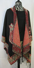 NWT Montana West Thick Paisley Black Cream Red Cape Poncho Cowgirl Western BOHO