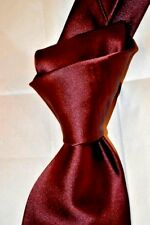 """$275 NWT TOM FORD Solid BURGUNDY 3.75"""" Men's Semi satin silk tie Made in ITALY"""