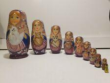 Large 10Pc Wooden Russian Matryoshka Nesting Dolls Elegant Lady holding a Cat