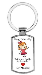 Personalised Happy Fathers Day to the best Daddy in the world Metal Keyring girl