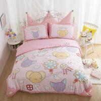 Card Captor Sakura Anime Cotton Bed Sheet Quilt Cover Cartoon Full Set 4PCS