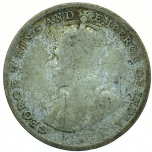 COIN / CEYLON / 10 CENTS 1919 SILVER GEORGE V BEAUTIFUL COIN  #WT30119
