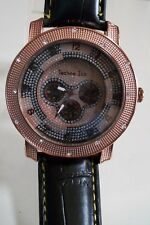 Men's Techno Ice Hip Hop Rose Gold/Black Leather Band Fashion Wrist Watch
