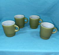Lot Of 4 ~ Vintage FIRE KING Green Cups Coffee Mugs Stackable Anchor Hocking