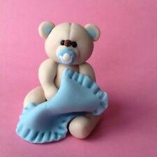 Edible Baby Boy Teddy Bear, Birthday, Christening, Baby Shower, Cake Topper