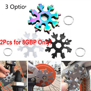 2X 18 In1 Multi-Tool Zinc Alloy Hexagonal Snow Shape Screwdrive Wrench Key Chain