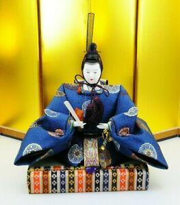 Vintage Japanese Samurai sword Armor Doll Emperor Figure on Tatami MINT SILK