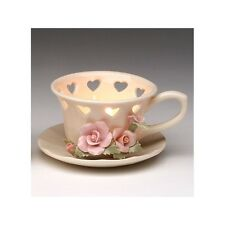Beautiful White Tea Cup Tea Light TeaLight Candle Holder Small Pink Rose