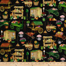 BTY QT GARDEN CARTS & SHEDS Blk Print 100% Cotton Quilt Crafting Fabric by Yard