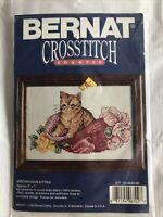 Mischievous Kitten Counted Cross Stitch Kit #95-4242-00 1982 Bernat Sealed