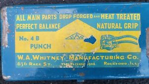 W.H. Whitney Co. No. 4 Hand Sheet Metal Hole Punch Set with Case and key