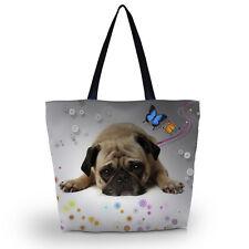 Cute Pug Tote Shoulder Shopping School Bag Handbag Ladies Women Large Foldable