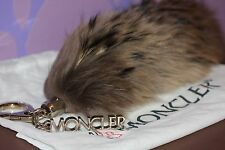 "MONCLER Real FOX Fur Tail FOXY *BAG CHARM* XL 15.5"" Key Chain Natural Brown SOFT"