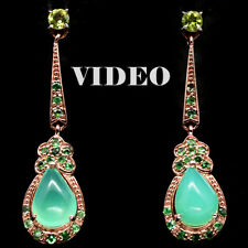 NATURAL! 8 X 11mm. CHRYSOPRASE ,PERIDOT..925 STERLING SILVER EARRINGS ROSE GOLD