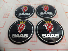 Blue Saab 93 95 9-3 9-5 900 9000 Wheel Centre Cap Logo Sticker Badge 55mm Set 4