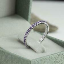 Eternity Wedding Band Sterling Silver Ring 0.75 Ct Round Purple Amethyst Full