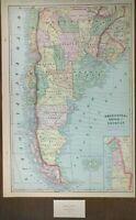 "Vintage 1900 ARGENTINA CHILE URUGUAY Map 14""x22"" ~ Old Antique SANTIAGO"
