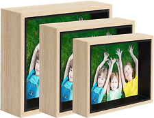 Picture Frame Set Of 3 Display 4x6 5x7 6x8 Photos Tabletop & Wall Mount Wood Col