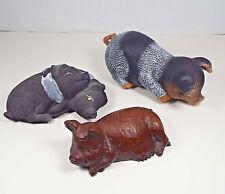 PIG FIGURINES Berkshire Hog Ceramic Stone Red Mill USA Vintage Estate Lot