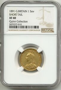 1891 QUEEN VICTORIA FULL GOLD SOVEREIGN SHORT TAIL NGC XF-40 SUPER RARE R5 COIN