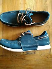 Mens Timberland Heger Bay 3 Eye Dark Blue Leather Lace Up Boat Shoes UK 11.5