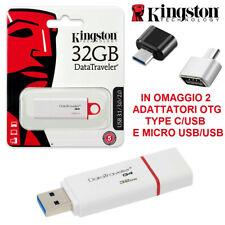 PENDRIVE KINGSTON CHIAVETTA USB 3.1 16GB 32GB 64GB 128GB + TIPE C + MICRO USB