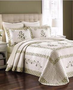 Martha Stewart Abbey Garden 100% Cotton Standard Pillow Sham White / Green -NIP