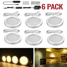 6X warm white LED Light Under Cabinet Closet Puck Lamp Home Kitchen Fixture Kit
